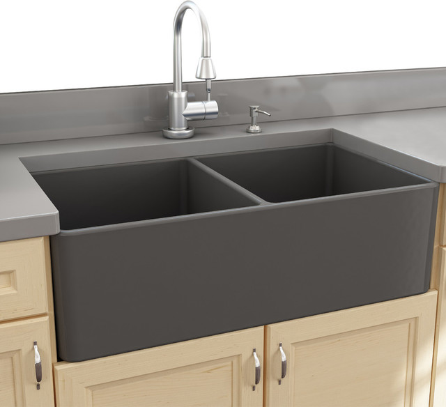 Farm Sink Double Bowl : Sinks 33 Double Bowl Gray Fireclay Farmhouse Sink - Farmhouse ...
