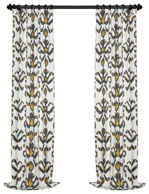 """Lumiere Gold Printed Cotton Twill Curtain Single Panel, 50""""x84""""."""
