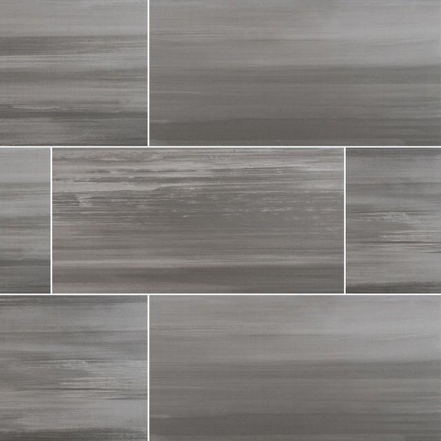 """Watercolor Graphite Matte Porcelain Tile, 12""""x24"""", Set Of 30."""