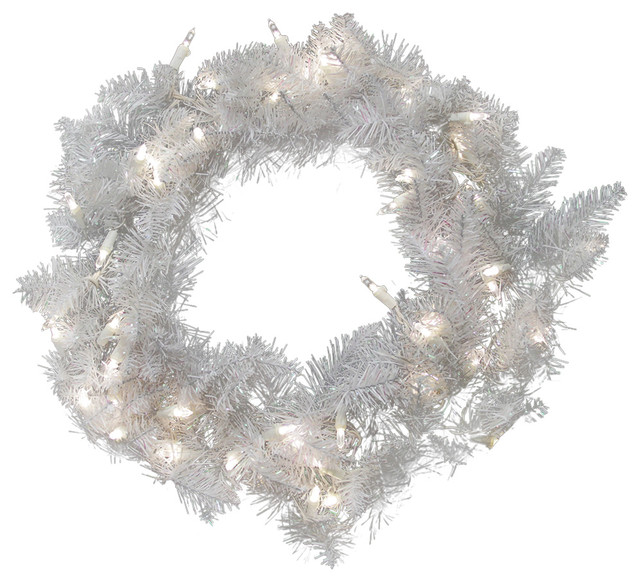 "24"" Pre-Lit Sparkle White Spruce Christmas Wreath, Pure White Led Lights."
