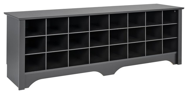 24 Pair Shoe Storage Cubby Bench Black
