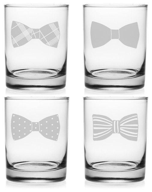 bowties rocks glasses set of 4