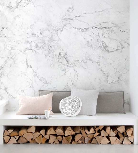 White Marble Wall Art Wallpaper, Peel and Stick - Contemporary ...