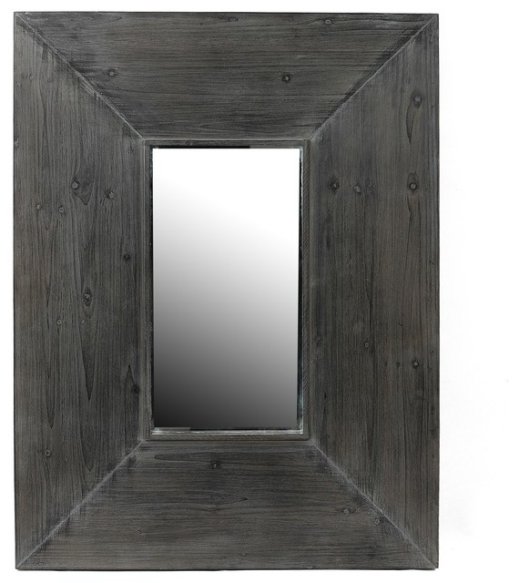 Gray Finish Reclaimed Wood Frame Wall Mirror, 40