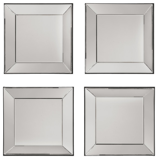 osp designs time square wall mirrors set of 4 with mirrored frames contemporary wall - Mirrored Frames