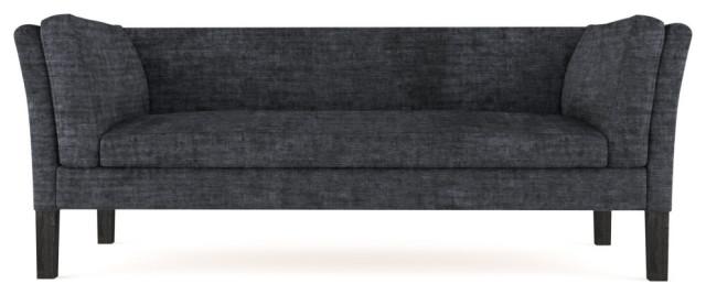 Charlton 7' Crushed Velvet Sofa, Graphite, Classic Depth