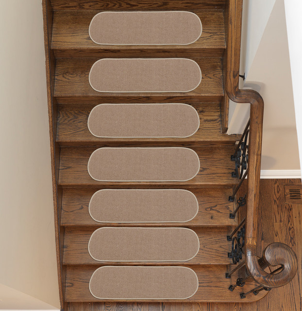 Ottomanson Homeline Escalier Collection Non-Slip 7 Stair Treads, Beige-Solid.