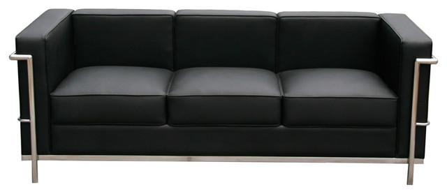 J M Furniture Cour Italian Leather Sofa Black