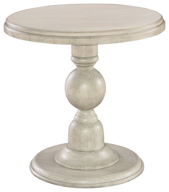 Hekman Homestead Round Pedestal End Table In Vintage White 12203LN  Traditional Side Tables