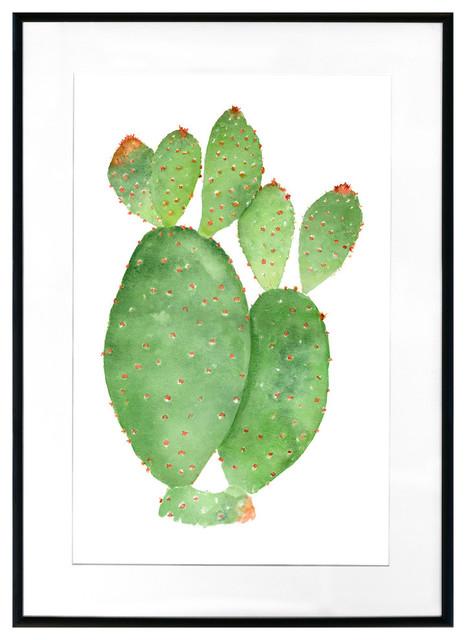 """watercolor Cactus"" Framed Art Print, 20""x16""."