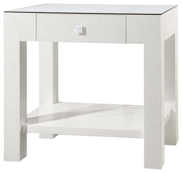 Valentina 1 Drawer Side Table In White