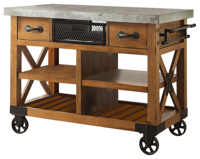 Kailey Cart, Antique Oak Finish