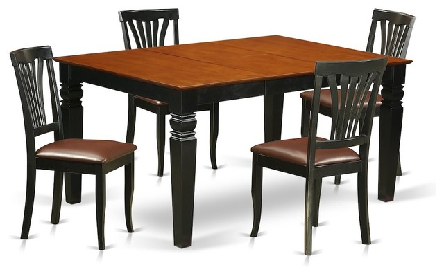5-Piece Kitchen Table Set With a Table and 4 Leather Dining Chairs, Black  Cherry