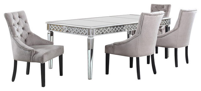 Sophie Silver Mirrored Dining Room 5 Piece Set Transitional Dining Sets By Furniture Import Export Inc