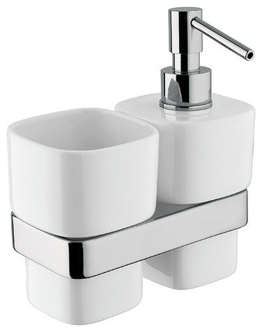 Ba Modulo Wall Toothbrush Holder Bath Tumbler Soap Lotion Dispenser Set Contemporary Bathroom Accessory Sets By Agm Home Store