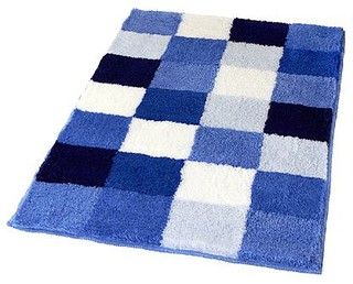 Blue Checker Pattern Rich Multi Color Plush Bathroom Rug Caro Contemporary Bath Mats By