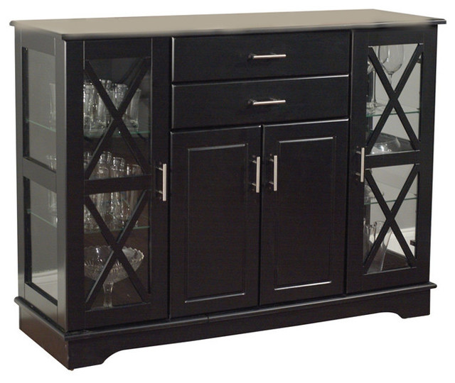 Black Wood Buffet Dining Room Sideboard With Glass Doors Transitional Buffets And