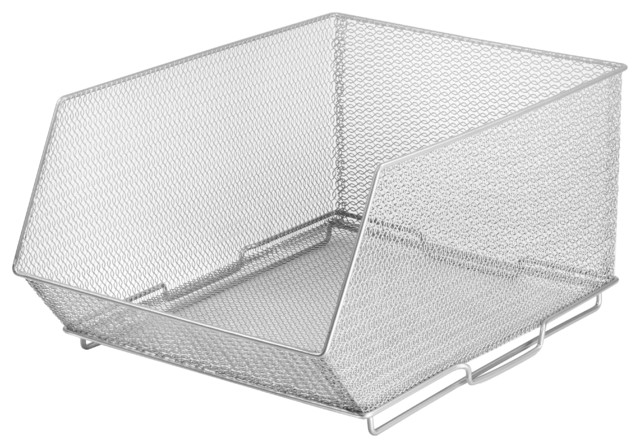 Mesh Stacking Bin Silver Storage Containers