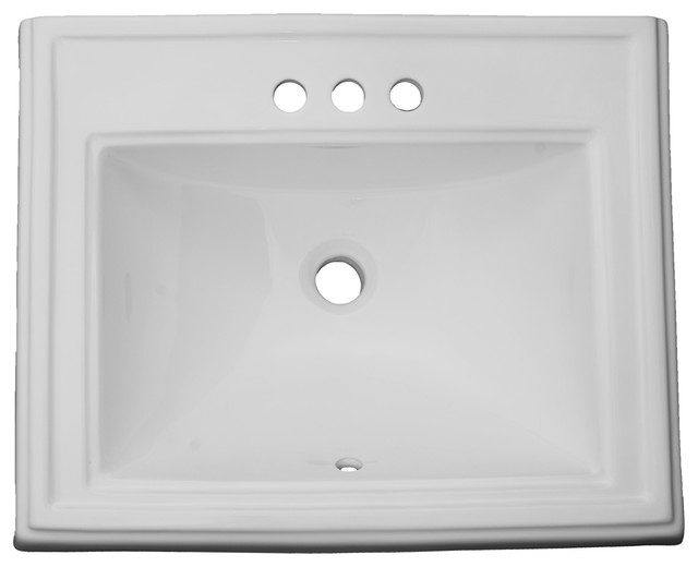 Vanity Dugout Porcelain Rectangular Drop In Sink White