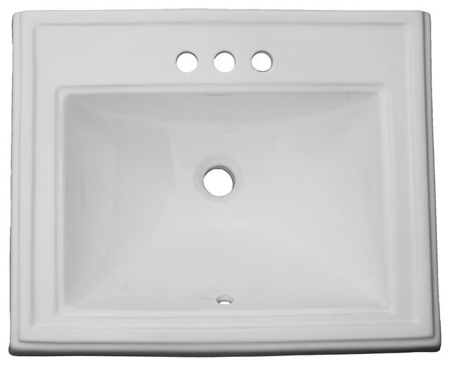 Vanity Dugout Porcelain Rectangular Drop In Sink White