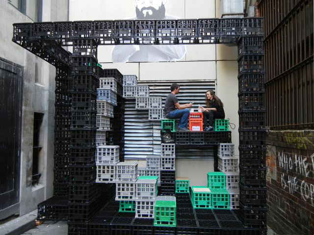 A Playground For Urban Dwellers/ Reuse Of Milk Crates Contemporary Exterior