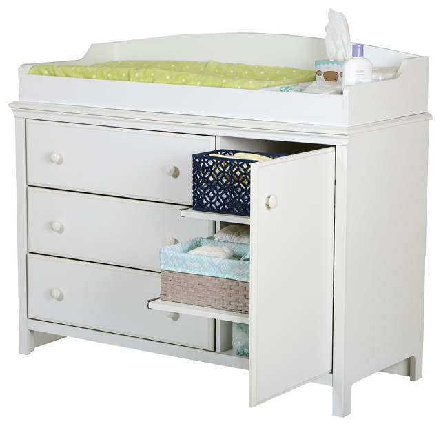south shore cotton changing table with removable changing station transitional
