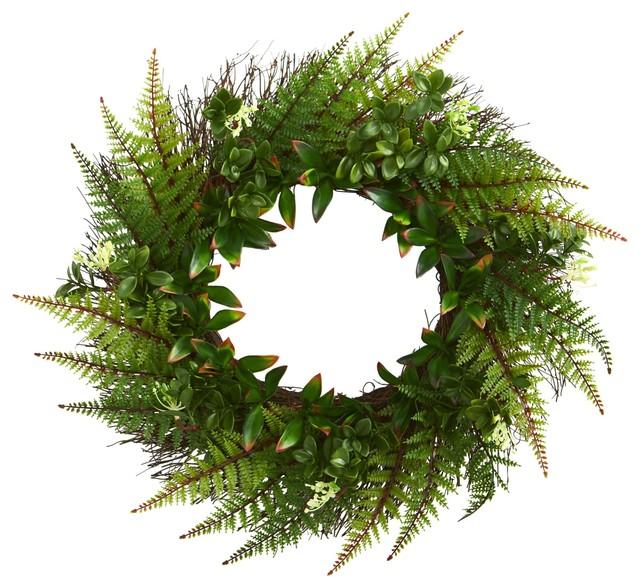 Artificial Wreath -23 Inch Assorted Fern Wreath.