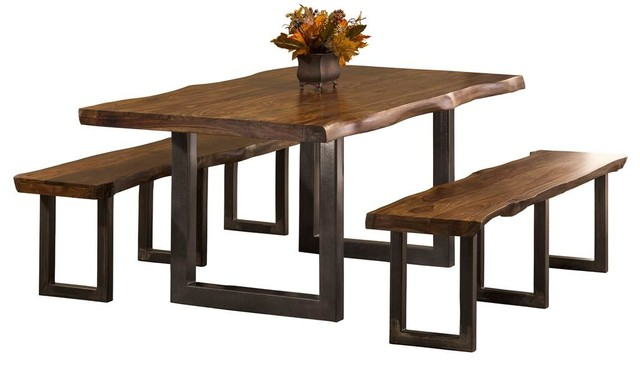 Awesome Emerson 3 Piece Rectangle Dining Set With Benches Natural Sheesham Pdpeps Interior Chair Design Pdpepsorg