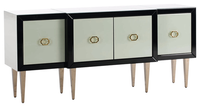 Black Sideboard With Four White Doors And Wooden Legs