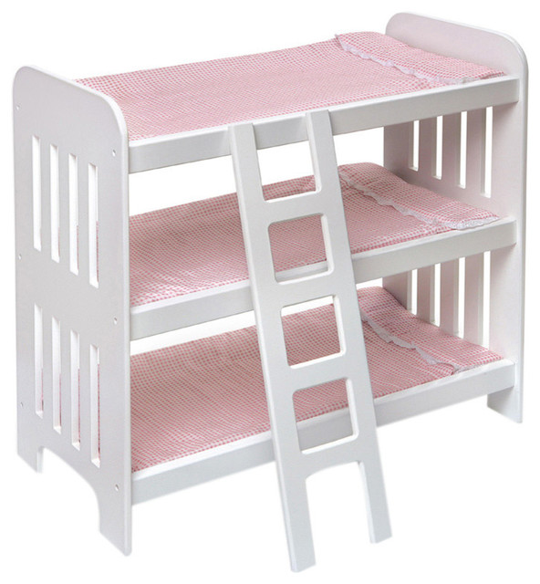 Badger Basket Co. Triple Doll Bunk Bed With Ladder And Pink Gingham Mats