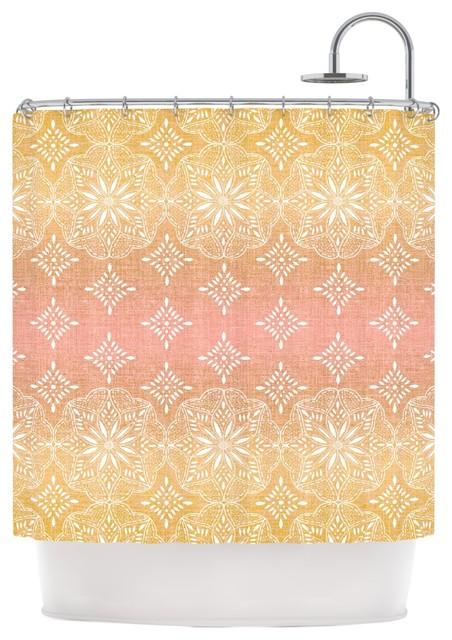 suzie tremel medallion blush ombre pink shower curtain