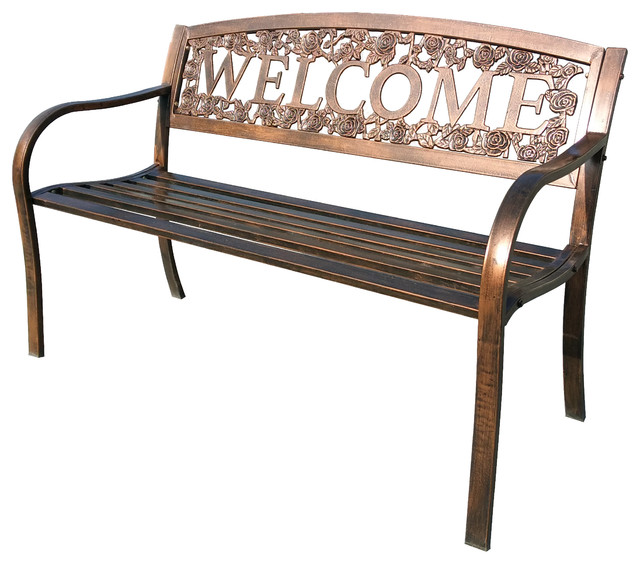 Rose Welcome Metal Bench Rustic Outdoor Benches By Leigh Country
