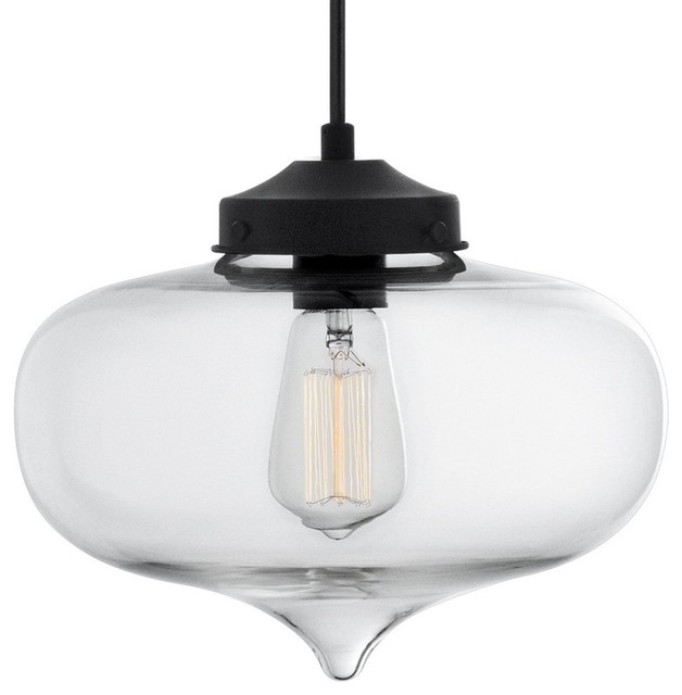 Adilah Clear Glass Pendant Light Transitional Pendant Lighting - Kitchen pendant lighting houzz