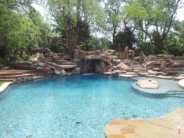Residential Natural Stone : A residential waterpark rustic dallas by natural