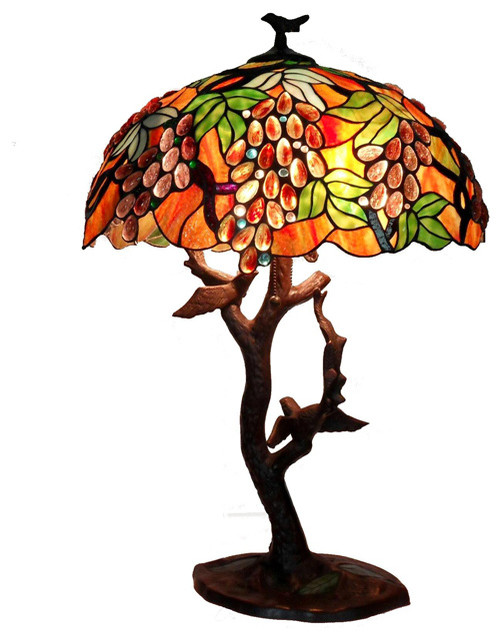 Warehouse of tiffany tiffany style grapes birds mosaic table tiffany style grapes birds mosaic table lamp traditional table lamps mozeypictures Choice Image