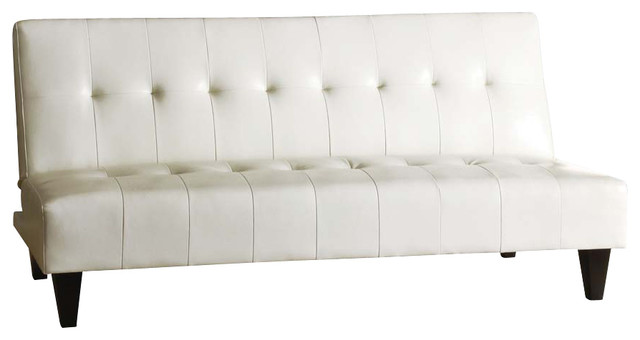 modern white bycast leather adjustable futon sofa bed sleeper couch