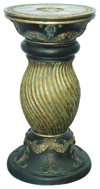 Antiqued Green Pedestal Victorian Plant Stands And Telephone Tables