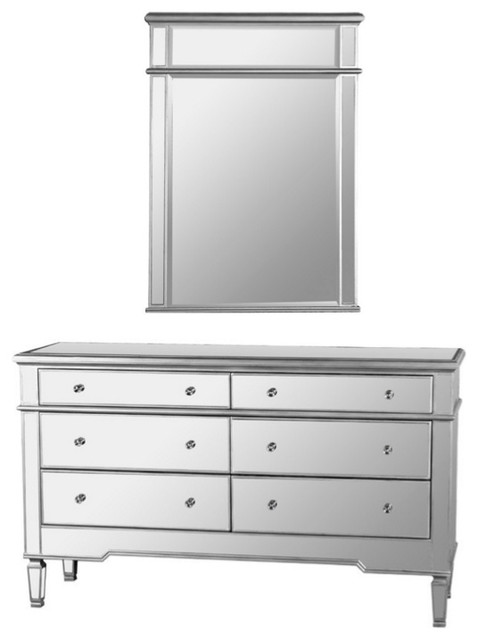 Nicolette Bedroom 6 Drawer Dresser Mirrored Finish With Mirror 2 Piece Set