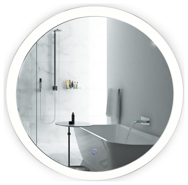 """Sol Round LED Lighted Wall Mount Vanity Mirror With Defogger, 30"""""""