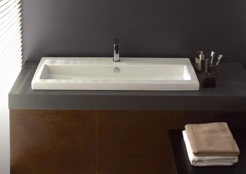 Sleek Rectangular Self Rimming Wall Mounted Or Vessel Sink By Tecla Conte