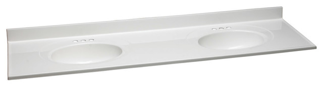 """73""""x22"""" Solid White Double Bowl Top."""