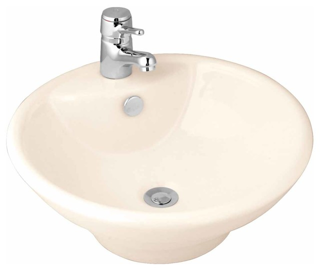 Bathroom Vessel Sink Bone China Faucet Hole.