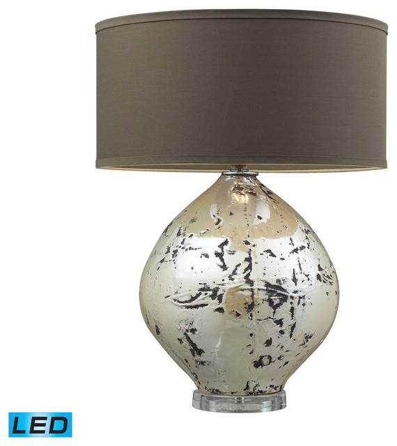 Limerick Ceramic Led Table Lamp, Turrit Gloss Beige With Brown Linen Shade.
