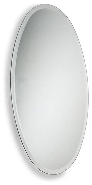 Oval Beveled Edge Bathroom Wall Mirror Contemporary Bathroom Mirrors By