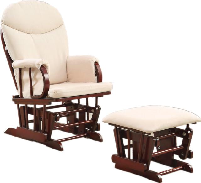 Glider Chair With Ottoman, Cherry Wood Frame Beige Cushion, 2 Piece Set