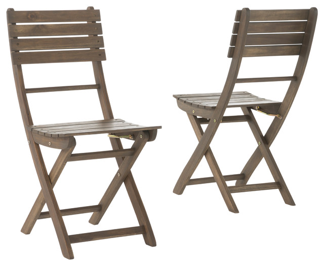 Vicaro Outdoor Dining Chairs, Set Of 2, Gray Transitional Outdoor Dining