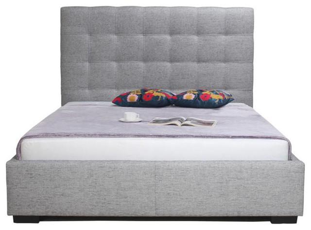 Belle Storage Bed, Light Gray, Queen.