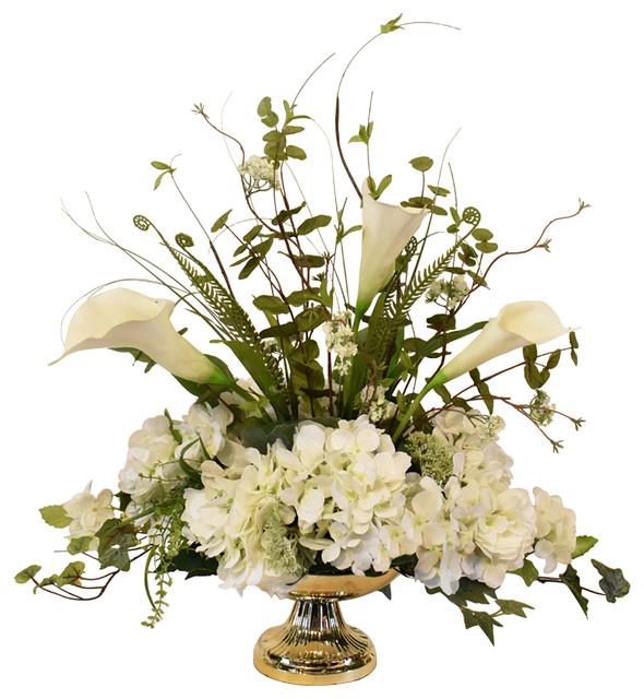 White Silk Hydrangea And Calla Lily Arrangement Traditional