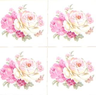 Pink rose kiln fired ceramic tile mural backsplash decor for Ceramic mural designs