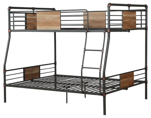 Brantley Full-Over-Queen Metal Bunk Bed, Sandy Black And Silver.
